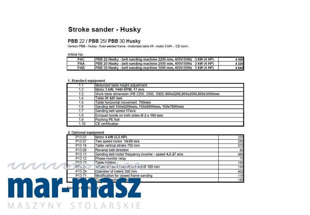 Szlifierka długotaśmowa Husky PBB 22 / PBB 25 / PBB 30