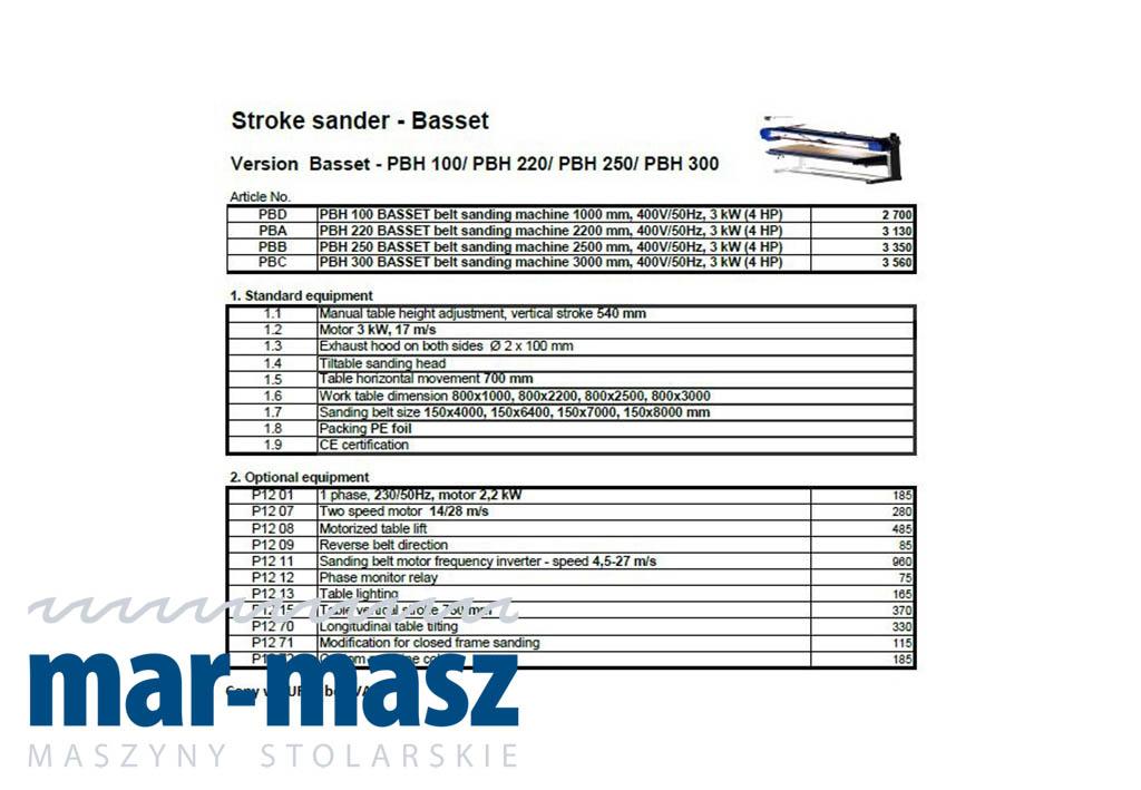 Szlifierka długotaśmowa Basset PBH 100 / PBH 220 / PBH 250 / PBH 300