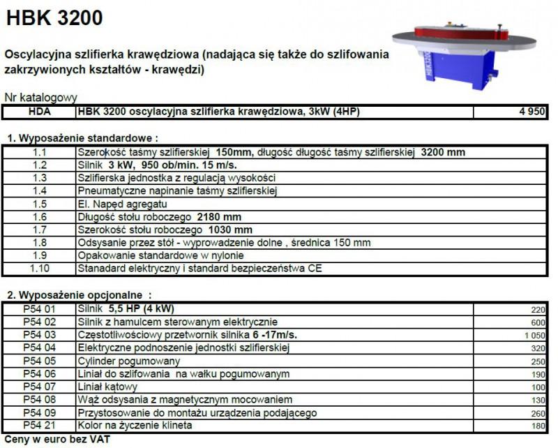 Szlifierka krawędziowa HOUFEK HBK 3200