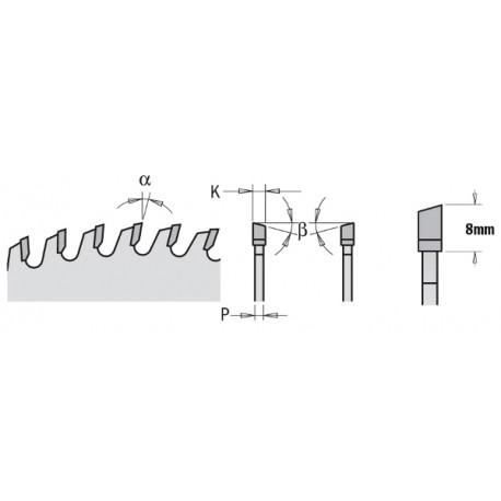 """CMT Piła chromowana wyciszona z zębem typu """"na przemian skos"""" 285.648.12M"""